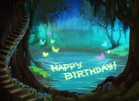Birthday Water lake cave z%a personalised online greeting card