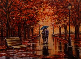 Art couple  autumn walking romantic umbrella landscape park trees leaves rain bench orange pathway lamppost z%a personalised online greeting card
