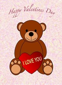 Valentines i love you, valentine, bear, heart, all, personalised online greeting card
