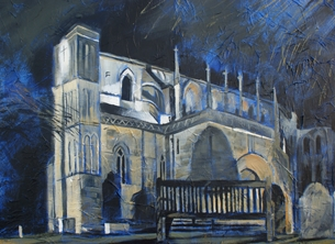 art Malmesbury Abbey fine art painting Mary Dodd personalised online greeting card