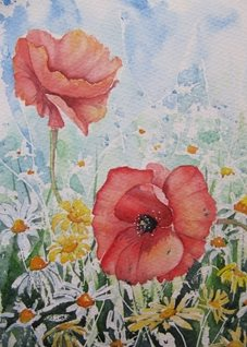 art Poppy, Poppies, Meadow, Wildflowers, Flowers, Countryside, red, white, daisy, field, personalised online greeting card