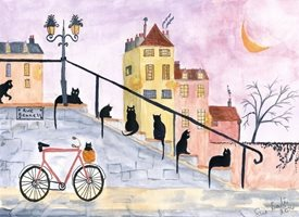 General Fun French black cats bicycle kitten steps cheerful personalised online greeting card