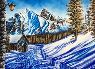 Art By Three  Alpine Walk Art  Christmas  snow mountains paths walk chapels church steeples chalets huts blue white sky trees austria switzerland alps lamps lantern forests rocks sun shadows pine trees mountains peaks alpine scene winter christmas for-him for-her  personalised online greeting card
