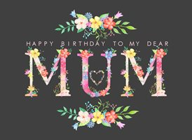 birthday Black, Floral, Alphabet, Flowers mum z%a personalised online greeting card