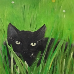 art Black cats, pets, felines, birthday card, cat lovers, cat's eyes, whiskers, animals, friends, green fields, any occasion, feral, wild, countryside, gardens, grass, fur baby,  mum, mother, lady, children;s, friends personalised online greeting card