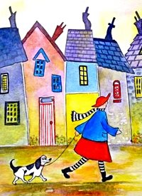 art  greeting cards by EmilyJane artwork dog animal  funny quirky person for-her Walking the Dog