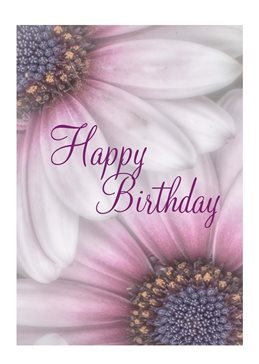 Birthday pink flower, up close, happy personalised online greeting card