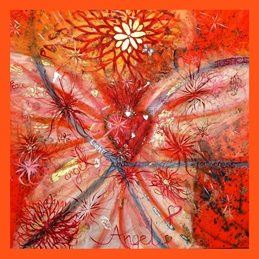 art Angel Painting, Abstract Painting, Orange, Yellow  personalised online greeting card