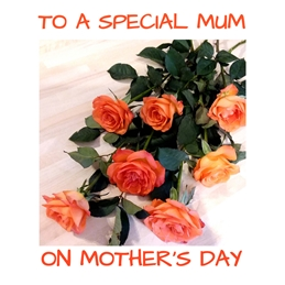 Mothers roses,flowers,mother,red,orange,green personalised online greeting card