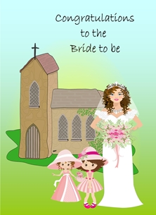 Wedding For Her Church Chapel Bride Bridesmaids Flowers Green Blue White Pink  personalised online greeting card