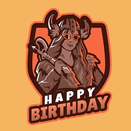 Happy Birthday Viking Girl Gamer