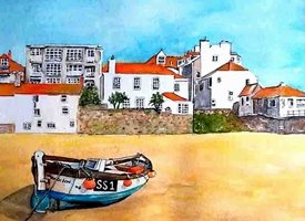 General artwork  Cornwall beach  for-him for-her personalised online greeting card