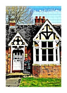 General UoR University Reading whiteknights chaplaincy lighthearted old building green blue red brick black tile white black wood door personalised online greeting card