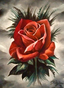 Art By Three  Gothic Red Rose Art red roses black gothic flowers oils art  for-her blank general all occasions mums nans aunts sisters her valentines girlfriends birthdays nature floral petals single blooms leaves for-her personalised online greeting card
