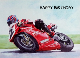 Birthday artwork motorcycles motorcyclists bikes racing for-him personalised online greeting card