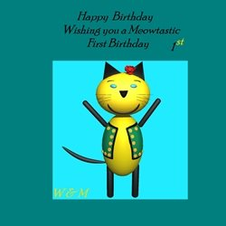 Birthday children for-child, Meow, happy, green, colorful personalised online greeting card