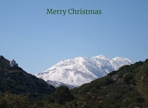 Christmas mountains snow Crete Greece personalised online greeting card