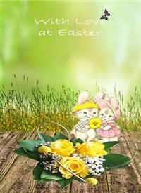 Easter  Bunnies Flowers yellow green brown happy  z%a personalised online greeting card