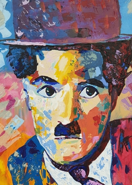 Golden icon, charlie chaplin, film stars, personalised online greeting card