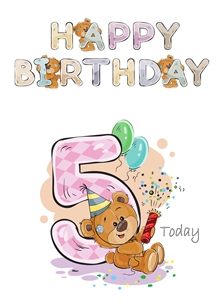 Birthday children For Children Water Colour Teddy Age 5 personalised online greeting card