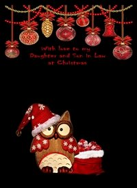 Christmas  Owl decorations clack red brown  z%a personalised online greeting card