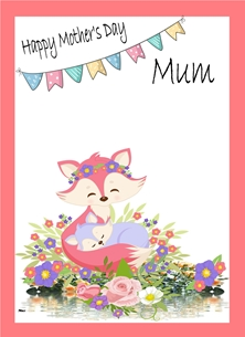 Mothers For Her Mother's Day Fox Flowers Bunting  Pink Purple Green White Yellow personalised online greeting card