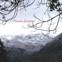 Christmas winter snow mountains for-him personalised online greeting card