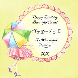 Birthday friend umbrella z%a personalised online greeting card