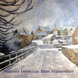 Mary Dodd Art Goosebridge Malmesbury in the Snow Christmas Goosebridge Malmesbury in the Snow Christmas painting art card  personalised online greeting card