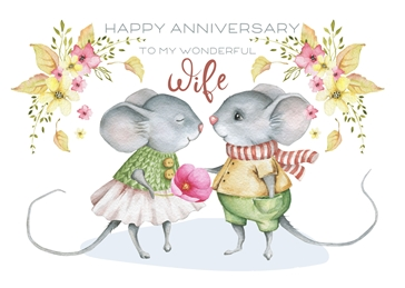 Snappyscrappy Anniverary Card Anniversary Wife, Mouse, Mice, Cute, For-Her personalised online greeting card