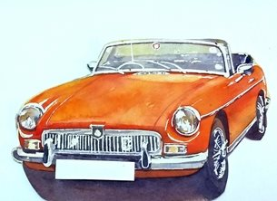 general MGB cars classic orange for-him vehicle   dad son  granddad friend uncle personalised online greeting card
