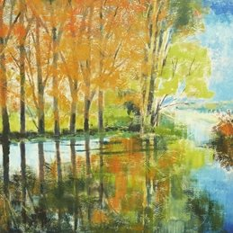 art  River Avon River Autumn trees  art card artist abstracted landscape waterscape personalised online greeting card