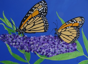Karen J Jones Monarch Butterflies on a Buddleia Flower general Butterlies, Butterfly, Buddleia flower, Birthday card, All occasions, for children, for mum, for mom, for her, wildlife, Monarchs, bright, uplifting, Mother's Day, wife, girlfriend  personalised online greeting card