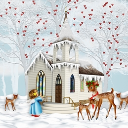 CHRISTMAS CHURCH snow personalised online greeting card