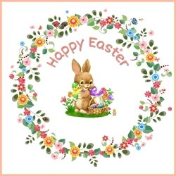 Easter Bunny, eggs , flowers  personalised online greeting card