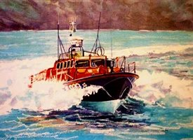 General  artwork boat sea  seascape lifeboat for-him personalised online greeting card