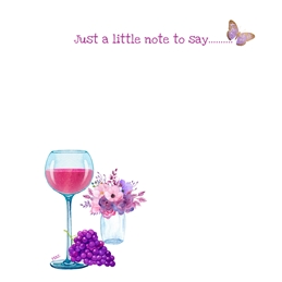 General Wine glass grapes butterfly flowers purple white Unisex for-him for-her Wholesale personalised online greeting card
