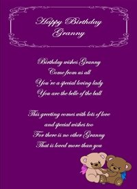 Birthday Teddies Poetry Granny Happy Purple  personalised online greeting card