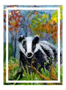 art badger, brock, wildlife, nature, animal art, personalised online greeting card