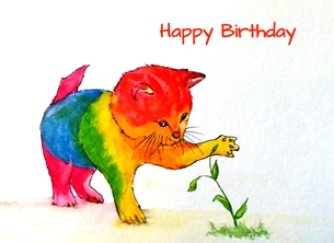 Birthday artwork cat animals red for-her for-children LGBT personalised online greeting card
