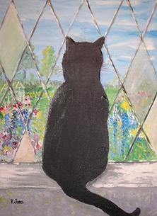 Karen J Jones Cat Silhouette  with Stone Window stained glass, black cat, stone, window frame, silhouette, fur baby, feline, country garden,  personalised online greeting card