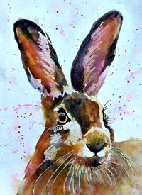 EmilyJane Beautiful Hare General artwork hare rabbit animals wildlife for-him for-her personalised online greeting card