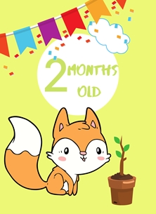 Fox,Banner,Milestone 2 months,Colourful,Plant, personalised online greeting card
