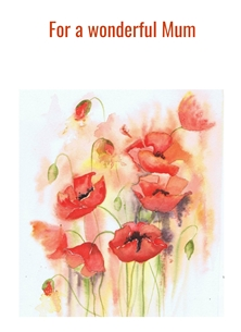 Mothers birthday Mum, wonderful, poppies personalised online greeting card