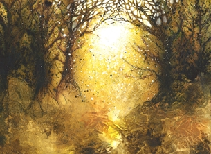 Alison Issitt Autumn Light Art general Forest, woodland, autumn, gold, trees, light, Birthday, thank you, congratulations,landscape, vibrant, watercolour, tree personalised online greeting card