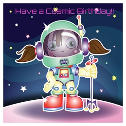 birthday astronaut, girl's birthday, happy birthday, children's designs, children's cards, children's birthday, fun cards, cartoon cards, personalised online greeting card