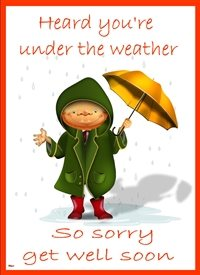 get well Little man brolly coat hat wellies rain Orange green red white blue thoughtful personalised online greeting card