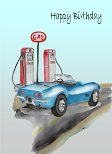 Birthday For Him Corvette Retro Car Blue Grey Red  personalised online greeting card