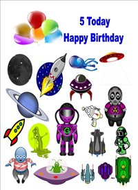 birthday children Space ship Planet Martian 5 z%a personalised online greeting card