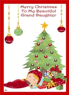 Her Nibs  Asleep by the tree Christmas Girl Sleeping Tree Gifts Baubles Star Stocking Red Green White Yellow Gold Happy  personalised online greeting card